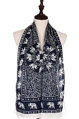 Itty Floral Vineyard With Geo Elephant Boho Print Chiffon Scarves