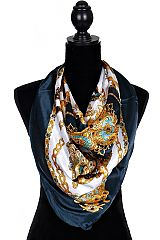 Royal Chains And Horse Saddle Printed Silky Scarves