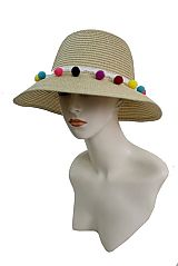 Colorful Pom Pom Banded Bucket Styled Spring Boho Hat