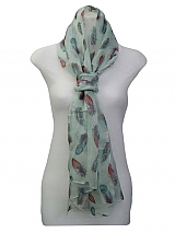 Feather Print Soft And Silk Scarves