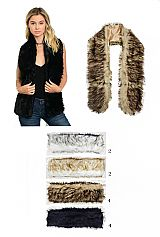 Luxury Faux Fur Shrug Satin Lined Shawl with Hook