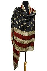 Over Sized Vintage Dyed Pashmina Feel American Flag Scarves