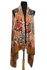 Full Of Color Abstract cultural Shapes And Patterns Printed Semi Sheer Sleeveless Vest Kimono