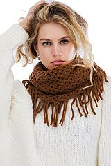 Single Loose Fringed Mini Hole Cut Out Knitted Infinity Scarves