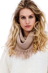 Frayed Fringed Basic Boho Styled Autumn Infinity Scarves