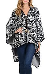 Paisley Printed Hooded Line With Fur Cape Boho Feather Tie Knot Poncho