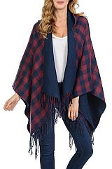 Plaid Patterned Hooded Open Poncho with Fringes Assorted Color Pack (2-Violet, 2-Navy Blue, 2-Khaki)