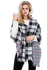 Reversible Checkered And Plaid Frayed Over Sized Shawl chunk Scarves
