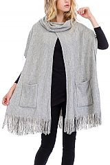 Chic Boho Cuffed Neck Pocketed Poncho Cape