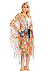 Mesh Stretchy Loose Striped Multi colorful Cardigan