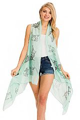 Anchor All Print Trimmed Semi Sheer Long Cardigan Vest