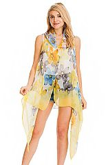 Watercolor Daisy Floral All Print Trimmed Semi Sheer Long Cardigan Vest