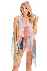 Abstract Color Print Trimmed Semi Sheer Long Cardigan Vest