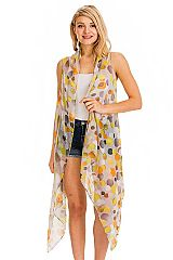 Abstract Multicolor Circle Print Trimmed Semi Sheer Long Cardigan Vest