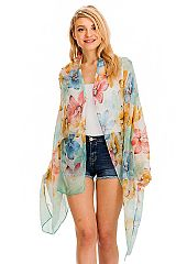 Watercolor Daisy Floral All Print Trimmed Semi Sheer Oblong Scarves