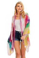 Abstract Color Print Trimmed Semi Sheer Oblong Scarves