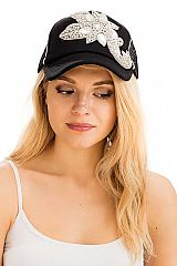 Abstract Paisley Floral Applique Rhinestone White Thick stitched Trucker Baseball Cap