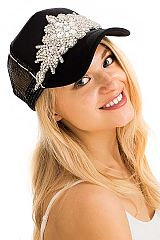 Crystal Flower Rhinestone White Thick stitched Trucker Baseball Cap