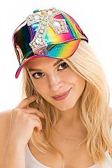 Clear Crystal Chunky Cross Embellished Retro Rainbow Reflective Cap