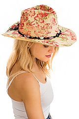 Flower Print with Bead Cowboy Style Hat