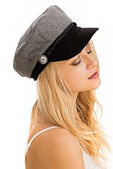 Cabby Hat Woven Nylon and Button Detailed Wool Felt Twill Fisherman Style Fiddler Hat