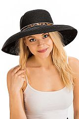 Leopard Patterned Band Detailed Wide Curved Down Brimmed Floppy Toyo Straw Sun Hat