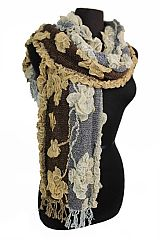 Laced Ruffled Rose Blossomed Pattern Elegant Scarves