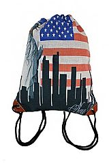 New York City with American Flag Design Thick Burlap Bag Pack