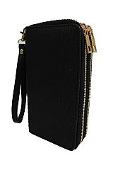 Luxurious Faux Leather Fashion Wallet with Double Golden Zipper Closure