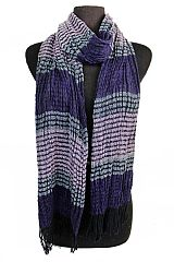Emboss Ruffle Three Tone Classic Wide Stripe Softness Scarves