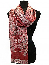 Metallic Flower Pattern Scarf