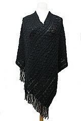 Diagonal Stripe & Double Zig-Zag All Over Thick & Soft Poncho