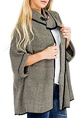 Mini Houndstooth Printed Cloak Cape Poncho with Golden Clasp
