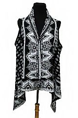 Abstract Cathedral Window Knit Sleeveless Sweater