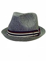 Up Turned Brim Fedora With Striped Bow