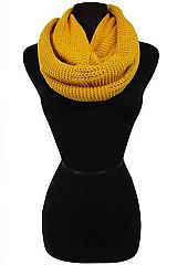 Solid Colored Crochet Stitched Ribbed Knit Infinity Scarf