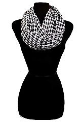 Two Tone Hounds Tooth Patterned Infinity Scarf
