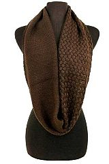 Solid Colored Bubble Stitched and Ribbed Knit Infinity Scarf