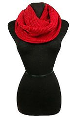 Solid Colored Vertical Bar Stitched and Ribbed Knit Infinity Scarf