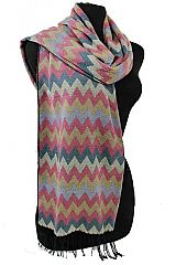 Multicolored Chevron Patterned and Fringed Oblong Scarf