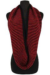 Two Tone Striped Ribbed Knit Infinity Scarves