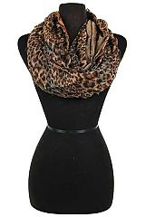 Leopard Patterned and Double Layered Semi Sheer Ruffle Infinity Scarves