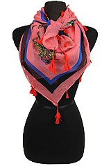 Butterfly Pattern Square Scarves with Tassel Accents
