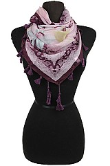 Peony Flower Pattern Square Scarves with Tassel Accents