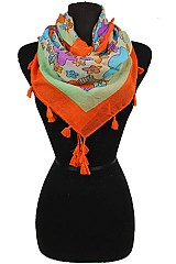 Floral Pattern Square Scarves with Tassel Accents