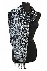 Abstract Peonies Floral and Geometric Patterned and Fringed Oblong Scarves