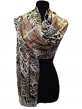 Leopard and Plaid Pattern Pashmina & Shawls