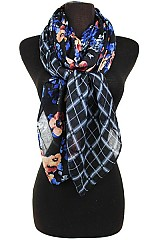 Floral and Geometric Pattern Soft Regular Scarf