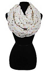 Multicolored Polka Dot Patterned Stockinette Stitched and Cable Knit Over Sized Infinity Scarf