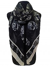 Designer Skull Print Striped scarves